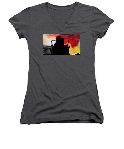 Bruce Springsteen Clarence Clemons Women's V-Neck T-Shirt