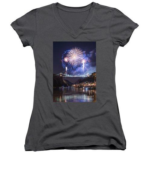 Clifton Suspension Bridge Fireworks Women's V-Neck