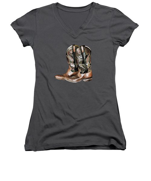 Cowboy Boots Women's V-Neck (Athletic Fit)