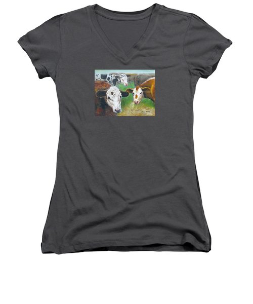 3 Cows Women's V-Neck (Athletic Fit)