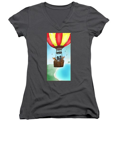 3 Dogs Singing In A Hot Air Balloon Women's V-Neck