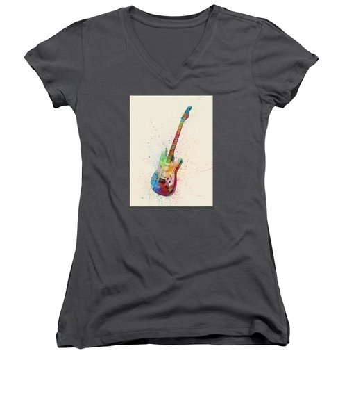 Electric Guitar Abstract Watercolor Women's V-Neck T-Shirt