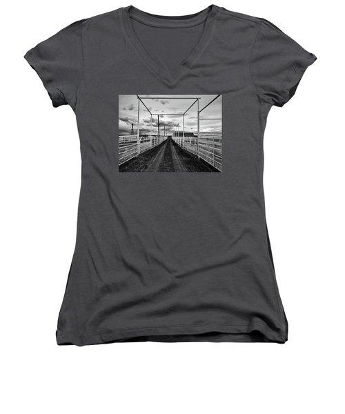 Empty Corrals Women's V-Neck T-Shirt (Junior Cut) by L O C