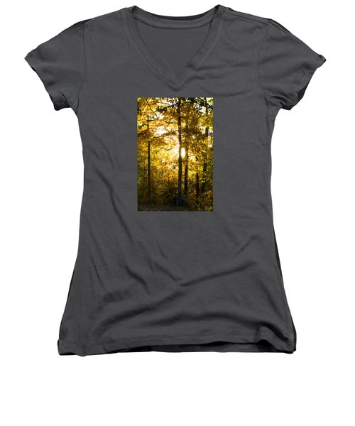 Women's V-Neck T-Shirt (Junior Cut) featuring the photograph Fall Color Virginia West Virginia by Kevin Blackburn