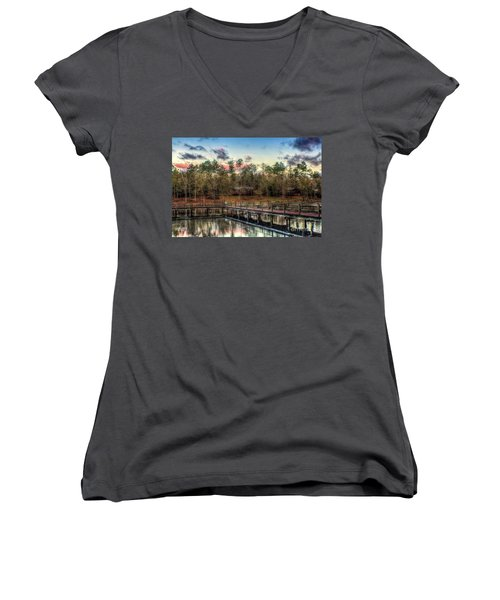 Flint Creek Women's V-Neck T-Shirt (Junior Cut) by Maddalena McDonald