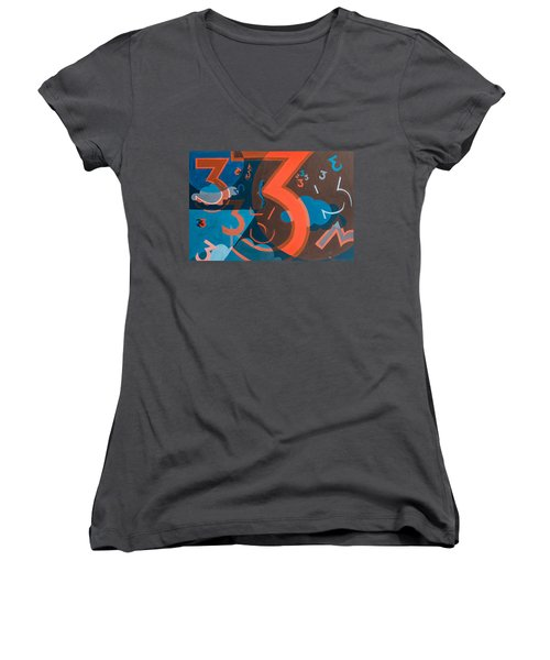 3 In Blue And Orange Women's V-Neck