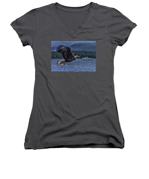 Women's V-Neck T-Shirt (Junior Cut) featuring the digital art In Flight. by Timothy Latta