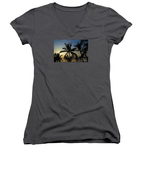 Kona Sunset Women's V-Neck T-Shirt (Junior Cut) by Kelly Wade