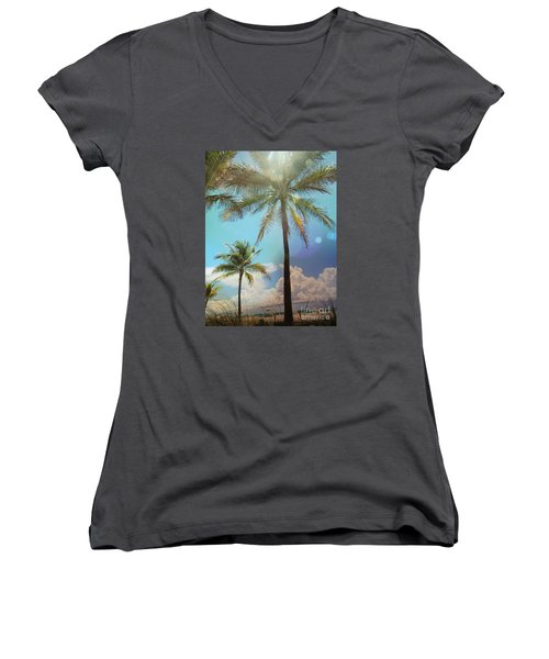 Women's V-Neck T-Shirt (Junior Cut) featuring the photograph Miami Palm Trees,  by France Laliberte
