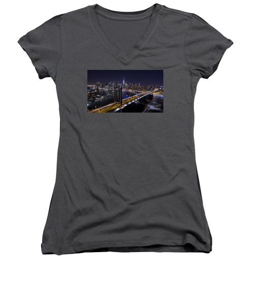 New York City, Manhattan Bridge At Night Women's V-Neck T-Shirt (Junior Cut) by Petr Hejl