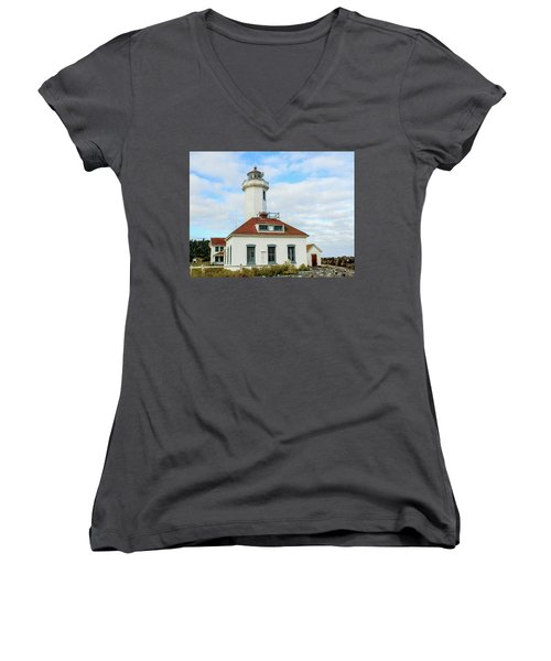 Women's V-Neck T-Shirt (Junior Cut) featuring the photograph Point Wilson Lighthouse by E Faithe Lester