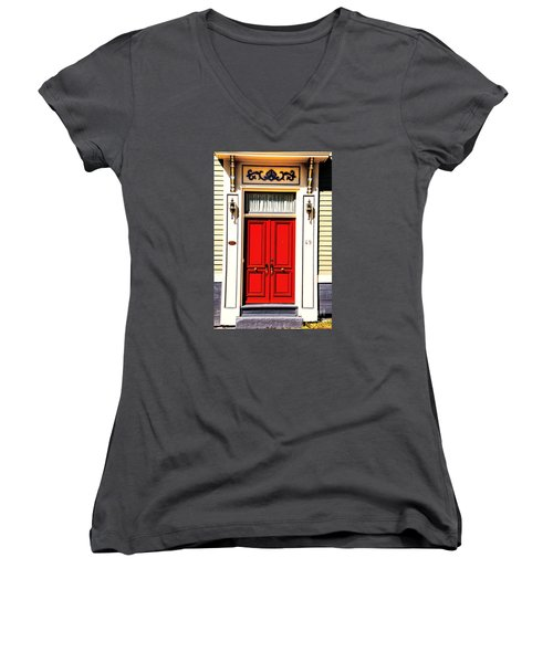 Women's V-Neck T-Shirt (Junior Cut) featuring the photograph Red Door by Rick Bragan