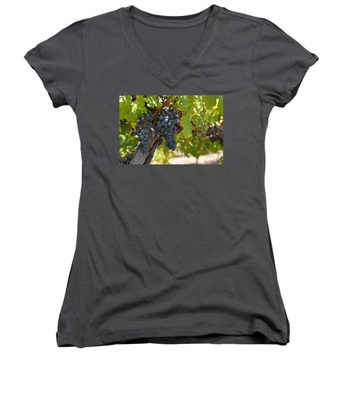 Women's V-Neck T-Shirt (Junior Cut) featuring the photograph Red Vines by Ulrich Schade