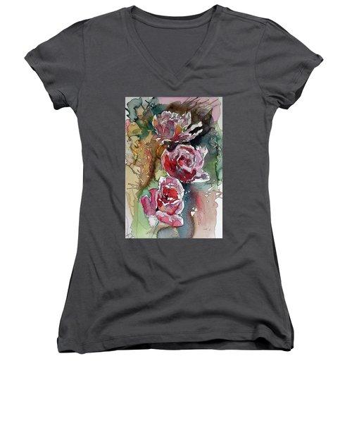 Women's V-Neck T-Shirt (Junior Cut) featuring the painting Roses by Kovacs Anna Brigitta