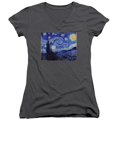 Women's V-Neck featuring the painting Starry Night by Van Gogh