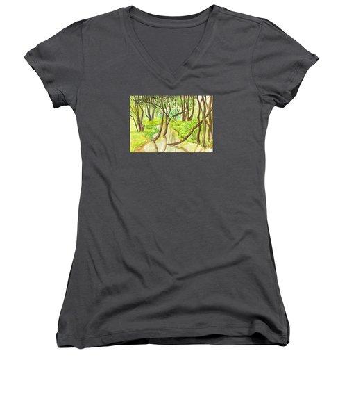 Summer Landscape, Painting Women's V-Neck T-Shirt (Junior Cut) by Irina Afonskaya