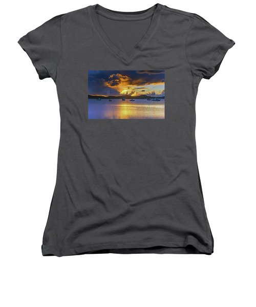 Sunrise Waterscape With Clouds And Boats Women's V-Neck