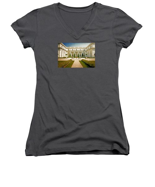 Women's V-Neck T-Shirt (Junior Cut) featuring the photograph The Rosecliff by Sabine Edrissi