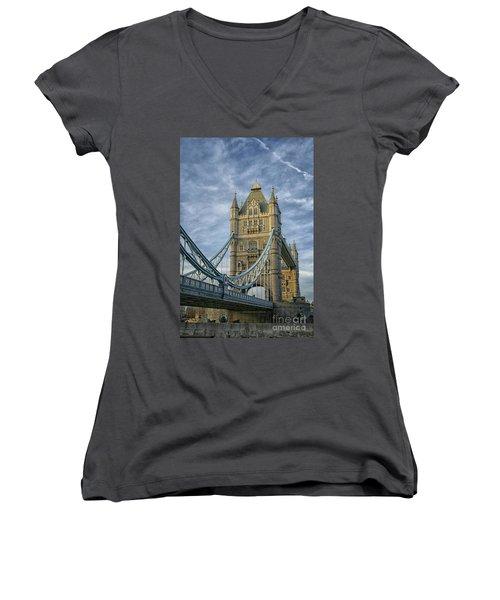 Tower Bridge London Women's V-Neck T-Shirt (Junior Cut) by Patricia Hofmeester
