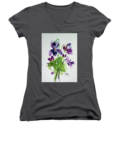 Women's V-Neck T-Shirt (Junior Cut) featuring the painting Violet by Kovacs Anna Brigitta