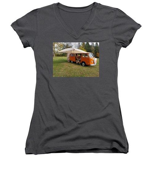 Volkswagen Bus T2 Westfalia Women's V-Neck (Athletic Fit)