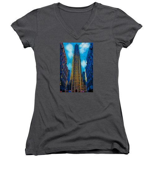 Women's V-Neck T-Shirt (Junior Cut) featuring the painting 30 Rock by Kai Saarto