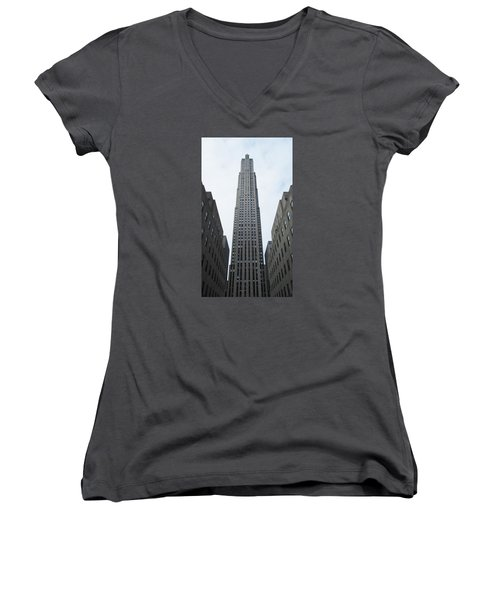 Women's V-Neck T-Shirt (Junior Cut) featuring the photograph 30 Rockefeller Center by Christopher Kirby