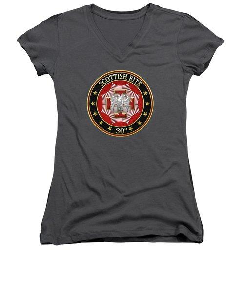 30th Degree - Knight Kadosh Jewel On Red Leather Women's V-Neck T-Shirt (Junior Cut)