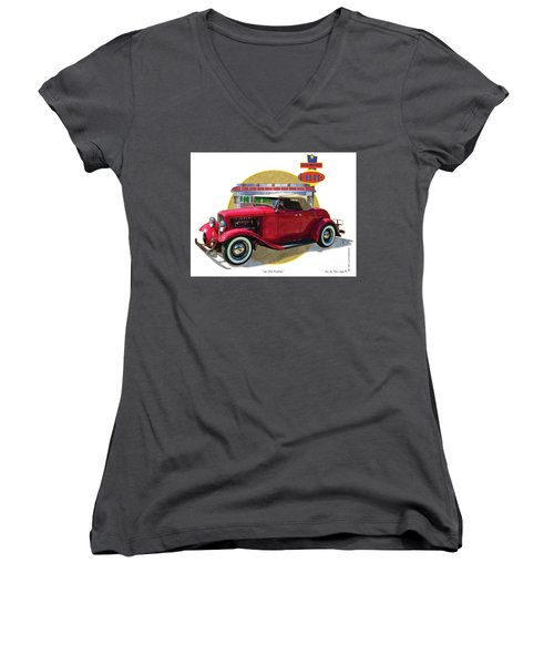 Women's V-Neck T-Shirt (Junior Cut) featuring the drawing 32 Red Roadster by Kenneth De Tore