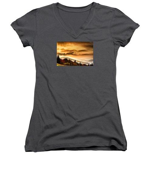 Allegheny Mountain Sunrise Women's V-Neck T-Shirt (Junior Cut) by Thomas R Fletcher