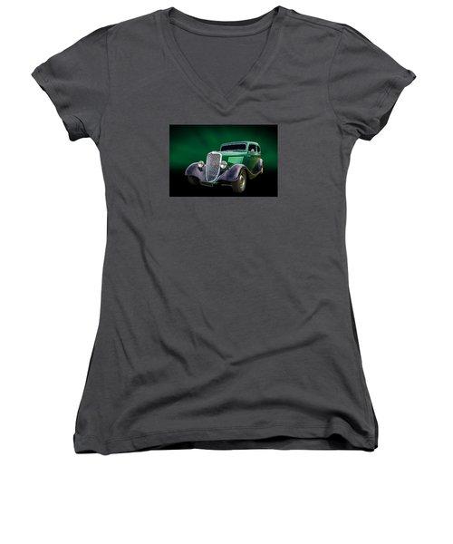 34 Tudor Women's V-Neck T-Shirt (Junior Cut) by Keith Hawley
