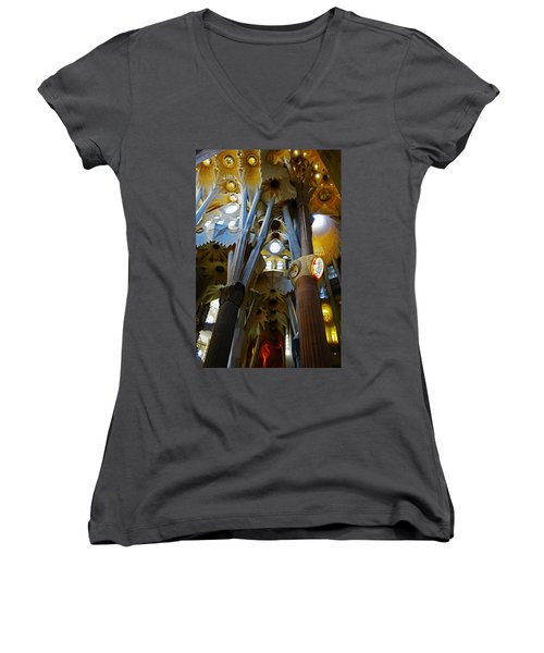Artistic Achitecture Within The Sagrada Familia In Barcelona Women's V-Neck T-Shirt (Junior Cut) by Richard Rosenshein