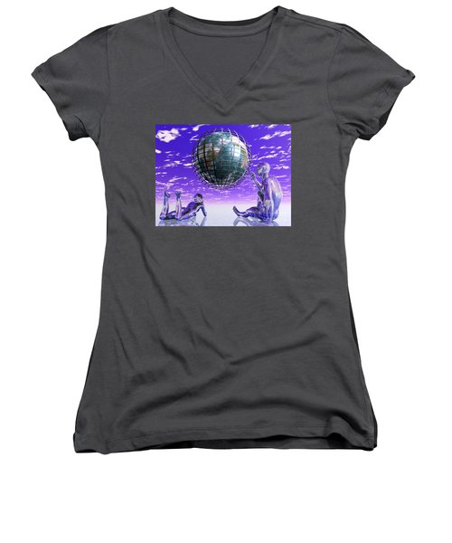 3d Aliens With Caged Earth Women's V-Neck T-Shirt (Junior Cut)