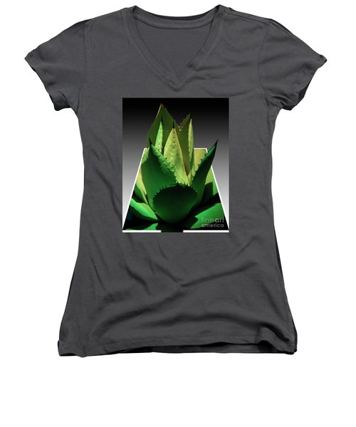 Women's V-Neck T-Shirt (Junior Cut) featuring the photograph 3d Cactus by Darleen Stry