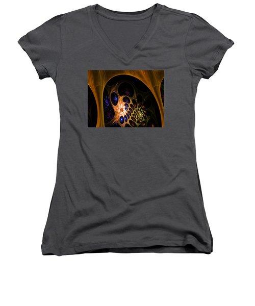 3d Chaotica Women's V-Neck T-Shirt (Junior Cut) by Ernst Dittmar