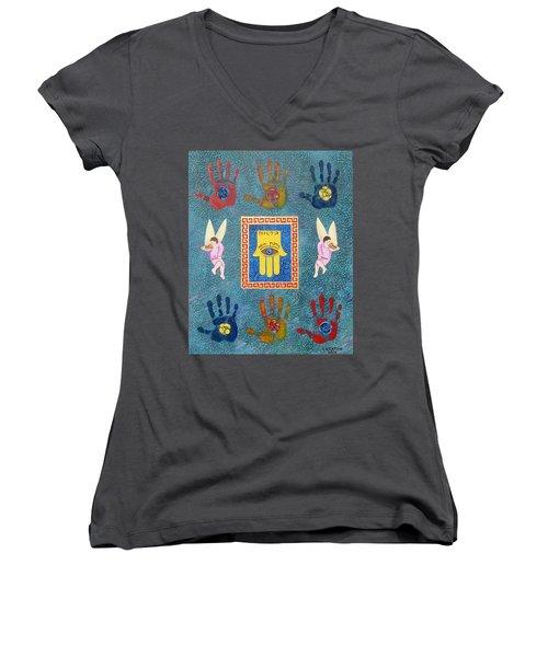 A Lesson In Symmetry Women's V-Neck T-Shirt (Junior Cut) by John Keaton