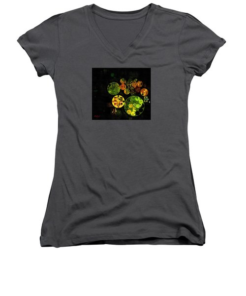Women's V-Neck T-Shirt (Junior Cut) featuring the digital art Abstract Painting - Black by Vitaliy Gladkiy