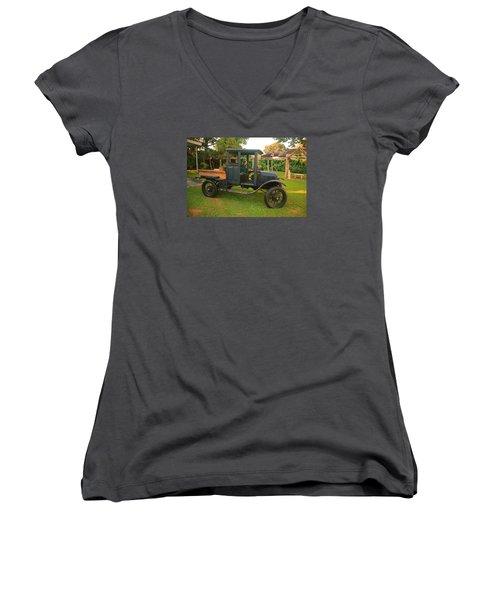 Antique Car Women's V-Neck T-Shirt (Junior Cut) by Ronald Olivier