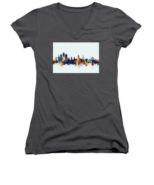 Women's V-Neck T-Shirt (Junior Cut) featuring the digital art Brussels Belgium Skyline by Michael Tompsett