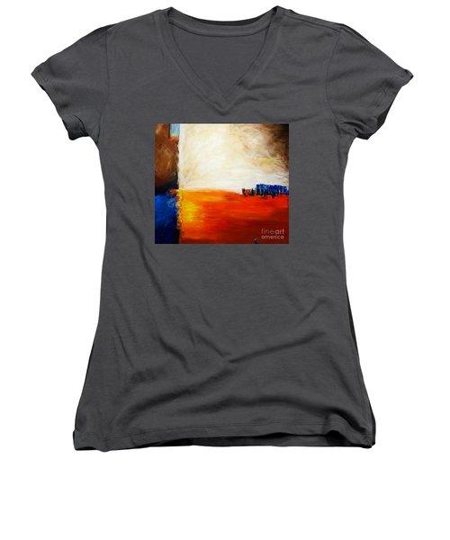 4 Corners Landscape Women's V-Neck T-Shirt (Junior Cut) by Gallery Messina