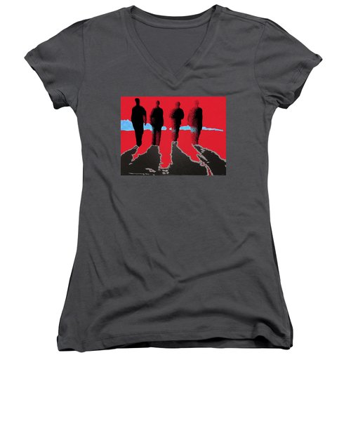 Women's V-Neck T-Shirt (Junior Cut) featuring the drawing 4 Friends Walking Into The Sun by Robert Margetts