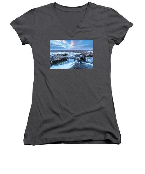 Godafoss Waterfall In Iceland Women's V-Neck T-Shirt