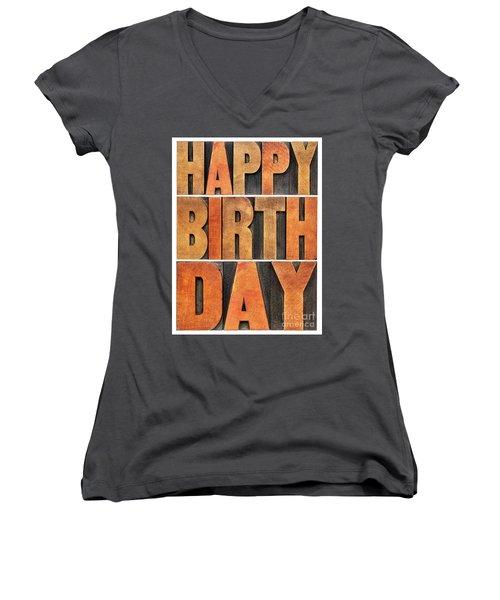 Happy Birthday Greeting Card Women's V-Neck