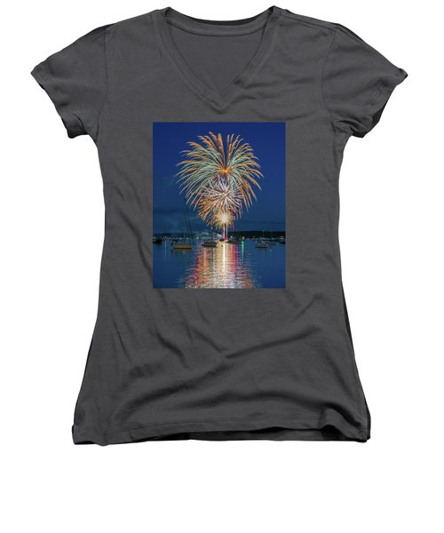 Independence Day Fireworks In Boothbay Harbor Women's V-Neck (Athletic Fit)