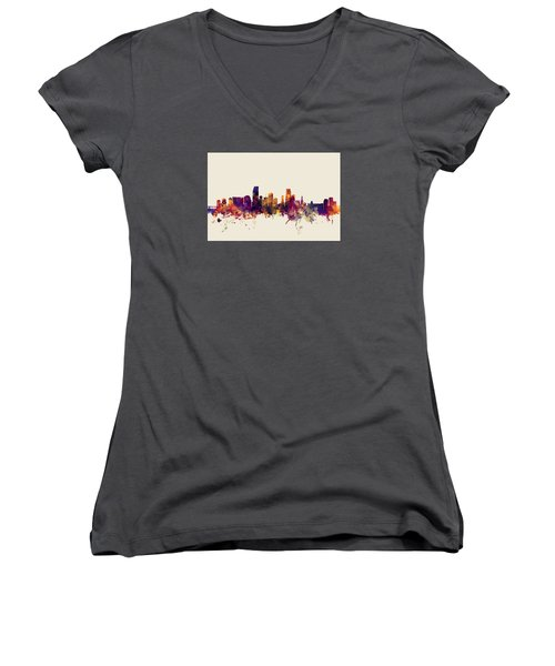 Miami Florida Skyline Women's V-Neck T-Shirt (Junior Cut) by Michael Tompsett