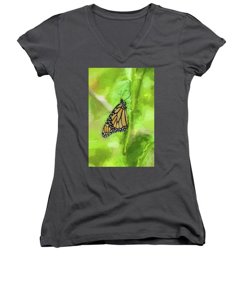 Monarch Butterflies Women's V-Neck T-Shirt (Junior Cut) by Rich Franco