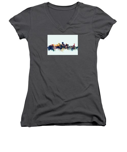 New Orleans Louisiana Skyline Women's V-Neck T-Shirt (Junior Cut) by Michael Tompsett