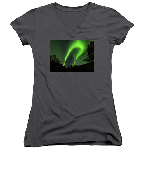 Northern Lights, Aurora Borealis At Kantishna Lodge In Denali National Park Women's V-Neck T-Shirt