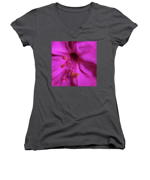 Women's V-Neck T-Shirt (Junior Cut) featuring the photograph 4 O'clock Bloom by Richard Rizzo