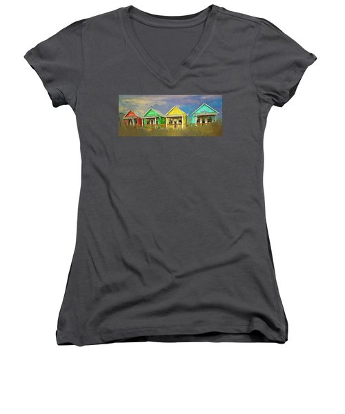 Women's V-Neck T-Shirt (Junior Cut) featuring the digital art 4 Of A Kind by Dale Stillman